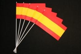 Fahne: Spanien-Fahne, 12 x 24 cm mit Stab, 50er-Pack - 1