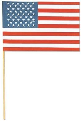 Flagge: Fahne, USA, mit Stab, 15 x 22 cm - 1