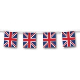 Flaggenkette, 12 Großbritannien-Flaggen, 3 Meter, Kunststoff - 1