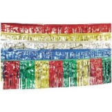 Foliengirlande: rote Fransen-Girlande, Metallic-Folie, 10 m - 1
