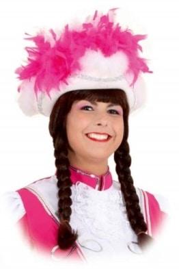 Funkenhut, weiß mit Silberborte, pink-weiße Boa, Kopfweite 57 - 1