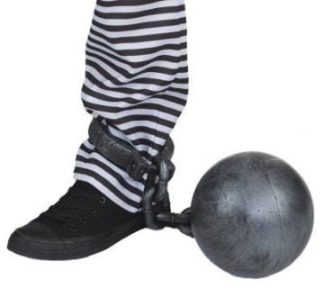 Fußfessel mit Kugel, Kunststoff - 1