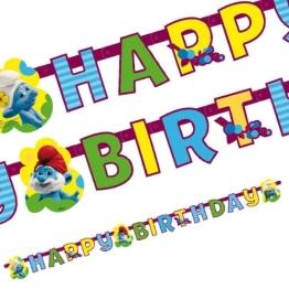 """Geburtstagskette: Partykette, """"Schlümpfe, Teil 2"""", mit Schriftzug """"Happy Birthday"""" - 1"""
