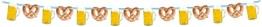 Girlande, 15 Motive mit Brezel und Bierkrug am hellblau-weißen Band, 10 m Länge - 1