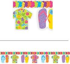 Girlande: Hawaii-Girlande, bunt, Hemd und Flip-Flops, 365 cm - 1