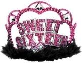 """Glitzer-Krone """"Sweet Sixteen"""", 12 cm Durchmesser, 8,5 cm Höhe - 1"""