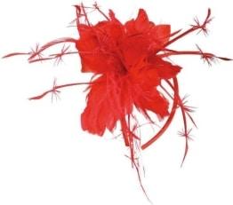 Haarreif, rot, Federdekoration - 1