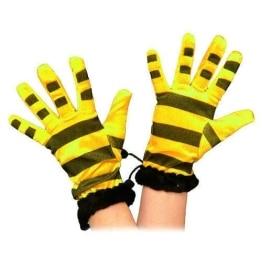 Handschuhe: Biene-Handschuhe, gelb mit schwarzen Streifen - 1