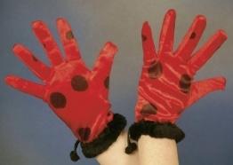 Handschuhe: Käfer-Handschuhe, rot mit schwarzen Punkten - 1