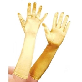 Handschuhe, Satin, gold, 40 cm - 1
