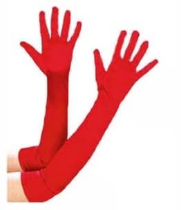 Handschuhe, Satin, rot, 60 cm - 1
