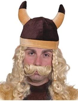 Helm: Wikingermütze, mit Hörnern, braun, Stoff, Einheitsgröße - 1