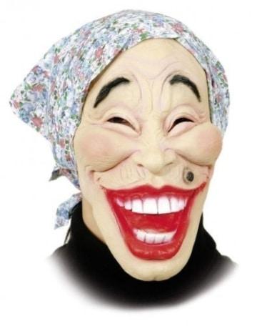 Hexen-Maske: alte Frau mit blauem Kopftuch, Latex, für Erwachsene - 1