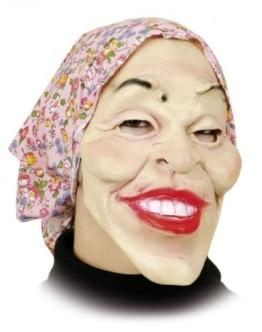 Hexen-Maske: alte Frau mit rosa Kopftuch, Latex, für Erwachsene - 1