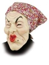 Hexen-Maske: alte Frau, rotes Kopftuch, Latex, für Erwachsene - 1