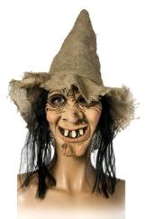 Hexenmaske mit Hut und Haaren, Kostüm Hexe Walpurgis - 1