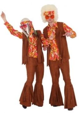 Hippie Weste braun mit Fransen - 1