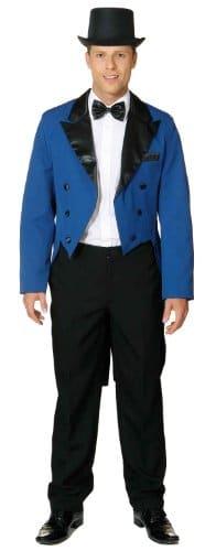 hochwertiger blauer Herrenfrack mit Satinkragen und Futterstoff - 1