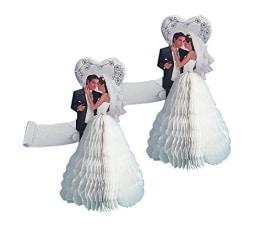 Hochzeitsdeko: Brautpaar mit Tischkarte, 10 cm Höhe, 10er-Pack - 1