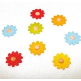 Holz-Konfetti: bunt gemischte Blüten, 43 mm, 10 Stück - 1