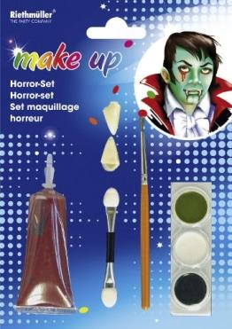 Horror-Schmink-Set: Vampir-Zähne, Schminke, Kunstblut - 1