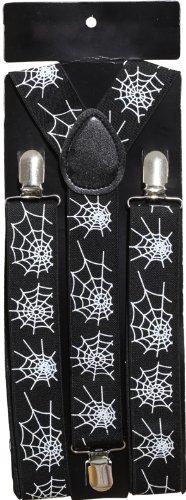 Hosenträger, schwarz, mit weißem Spinnennetzmuster - 1