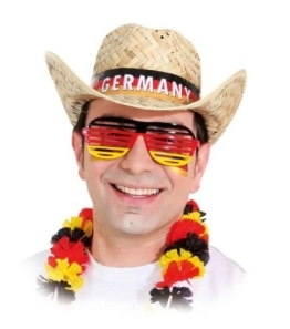 "Hut: Cowboyhut ""Germany"", Stroh, mit Flaggen-Hutband - 1"