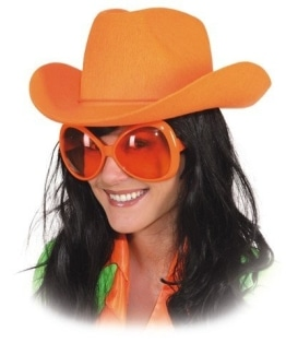 Hut: Cowboyhut, neonorange, Einheitsgröße - 1