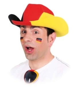 Hut: Cowboyhut, schwarz-rot-gelb - 1