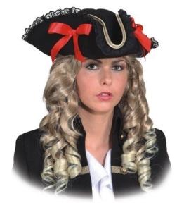 Hut: Damen-Dreispitz, schwarz, mit Spitze und roten Schleifen, Kopfweite 59 - 1