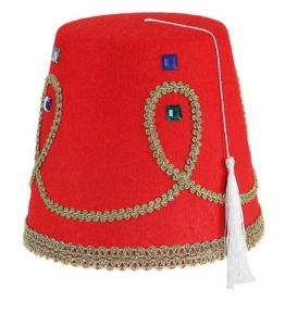Hut: Fez, rote Araber-Kappe - 1