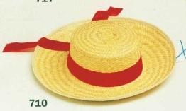 Hut: Gondoliere-Hut aus Stroh mit Band - 1