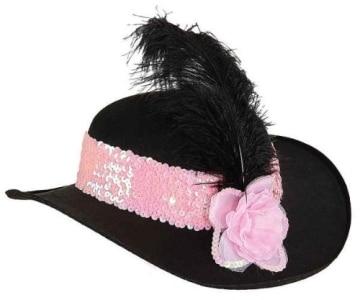 Hut: Hut für eine Diva, schwarz, rosa Hutband und Blüte, schwarze Feder - 1