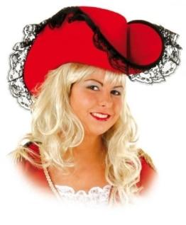Hut: Lady-Hut, rot, mit schwarzer Spitze, Kopfweite 59 - 1