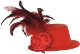 Hut: Mini-Hut, mit Federn, rot - 1