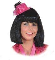 Hut: Mini-Hut, Pailletten, mit Feder und Tüll, pink - 1