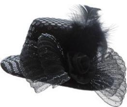 Hut: Mini-Hut, Pailletten, mit Feder und Tüll, schwarz - 1