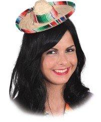 Hut: Mini-Hut, Sombrero, Stroh, Krempe und Hutband vielfarbig - 1