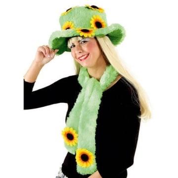 Hut mit Schal, Sonnenblumen, neongrün - 1