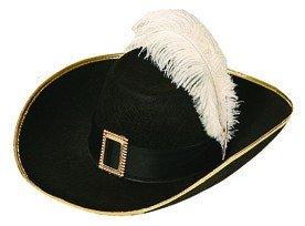 Hut: Musketierhut, mit Feder und Schnalle, schwarz - 1