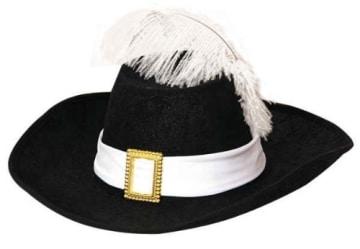 Hut: Musketierhut, schwarz, weißes Band mit Schnalle, weiße Feder, Kopfweite 59 - 1