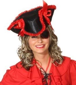 Hut: Piratenhut, schwarz-rot, mit Augenklappe, Einheitsgröße - 1