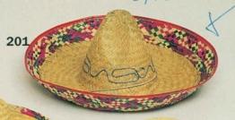 Hut: Sombrero, Stroh, naturfarben, bunter Rand - 1