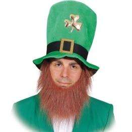 Hut: St. Patrick's Day Hut mit angenähtem Bart, mit Kleeblatt und Schnalle, grün, Einheitsgröße - 1