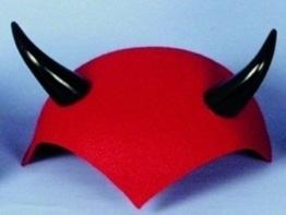 Hut: Teufelskappe, rot, schwarze Hörner - 1