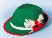 Hut: Tirolerhut, grün, weißes Hutband mit Deko - 1