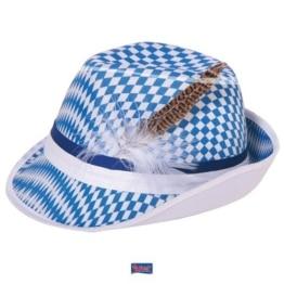 Hut: Tirolerhut, weiß-blaue Rauten, mit Feder - 1