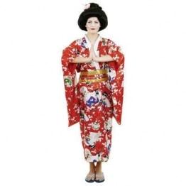 Japanerin-Kostüm: Kimono, Satin, rot, Einheitsgröße - 1