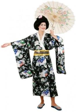 Japanerin-Kostüm: Kimono, Satin, schwarz, Einheitsgröße - 1