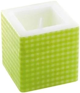 Kerze: Würfelkerze, grünes Vichy-Muster, 8 x 8 x 8 cm - 1